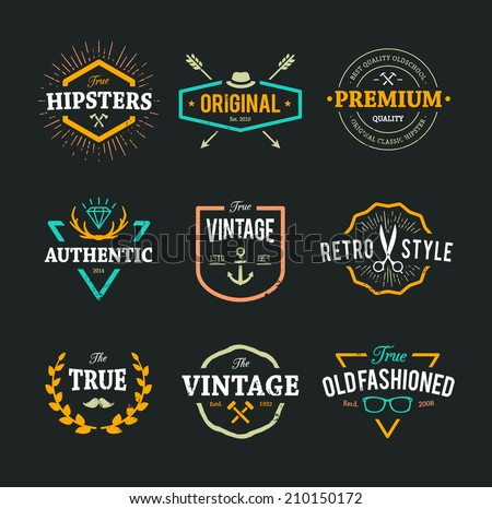Set of hipster emblems, badges and design elements. Cool old fashioned labels for retro styled design. - stock vector