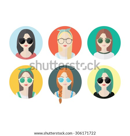 Set of hipster girls and geek glasses flat icons. Stylish hipster girls in modern and creative style. Website avatar symbols. Woman web media element collection. - stock vector