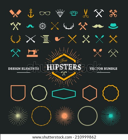Set of hipster icons, frames and sunbeams. Cool design elements for your fresh hipster ideas. - stock vector