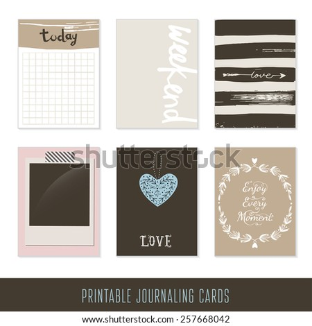 Set of 6 hipster journaling cards and motivational poster. Hand Drawn textures made with ink.  - stock vector