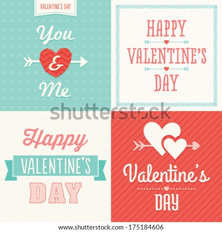 Set of hipster typographic love cards and banners for Valentine's Day in red pink and aqua. Great for poster, menu, party invitations, social media, web banner. - stock vector