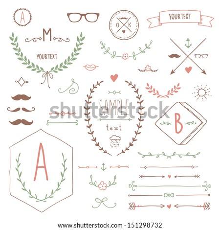 Set of hipster vintage design elements - stock vector