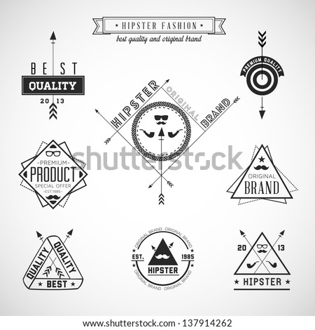 Set of hipster vintage retro labels - EPS10 Compatibility Required - stock vector