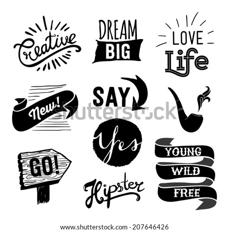 Set of hipster vintage retro labels. Hipster style hand drawn elements for design. Quotes and icons. - stock vector
