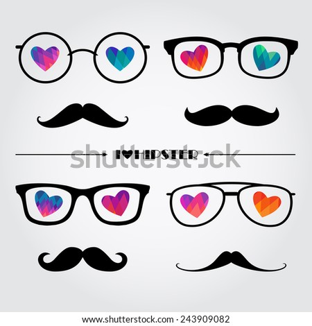 set of hipsters glasses and mustaches with decorative geometric hearts, perfect set for Valentine's day - stock vector
