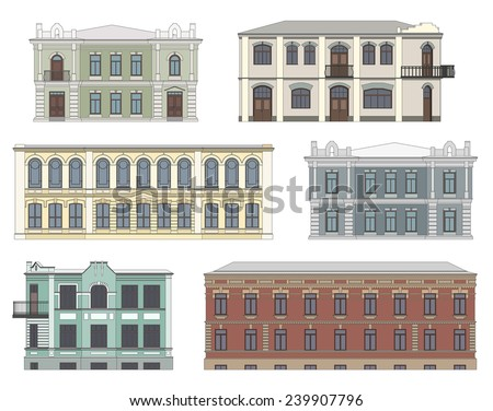 Set of historical building facades highly detailed, real, colored, isolated on white background - stock vector