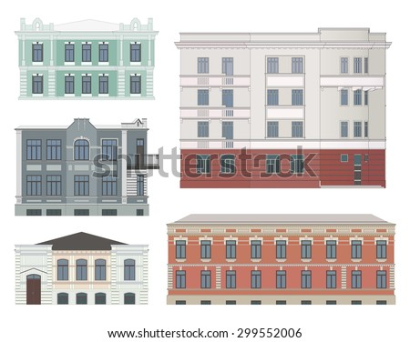 Set of historical buildings facades highly detailed, real, colored, isolated. - stock vector