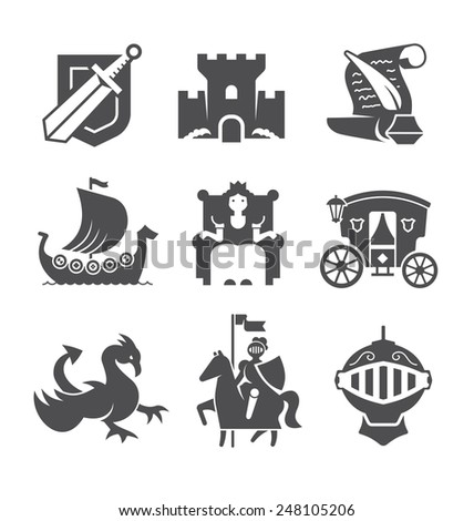 Set of historical icons: knight, queen, castle, dragon, armor, scroll and so on. Black and white icons isolated on white background. - stock vector