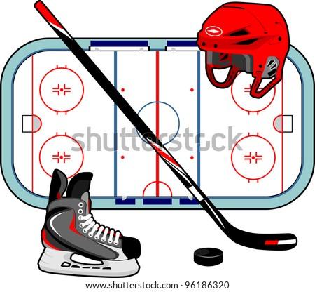 Set of Hockey Equipment - stock vector