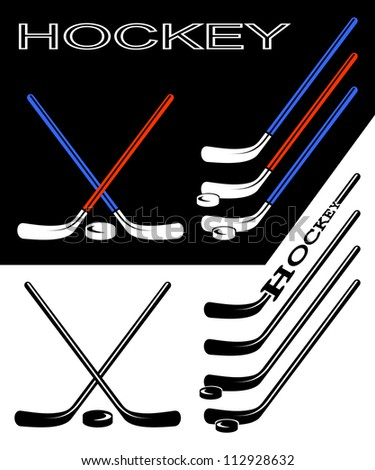Set of hockey sticks on black and white backgrounds. - stock vector
