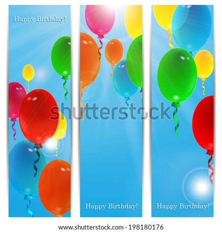 Set of holiday banners for birthday with colorful balloons and place for your text - stock vector