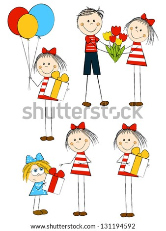 Set of holiday funny children - stock vector