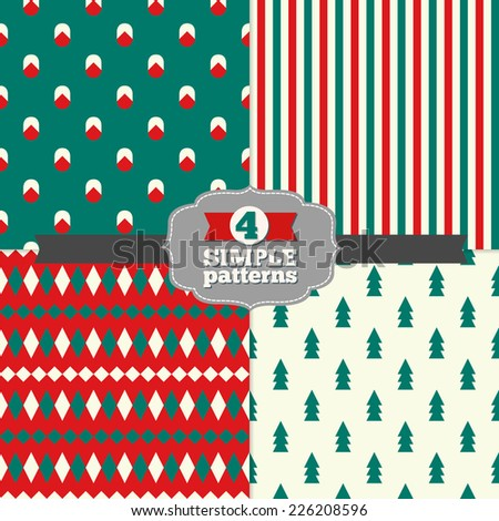 Set of Holiday Geometric Patterns with Fir Trees, Stripes, Rhombus and Christmas Balls in Emerald Green, Red and White. Perfect for wallpapers, pattern fills, web page backgrounds, textile  - stock vector