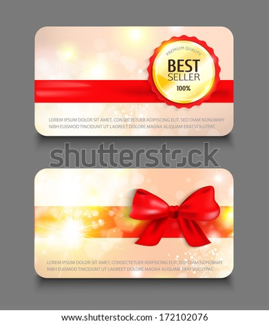 Set of holiday gift cards. Vector illustration. - stock vector