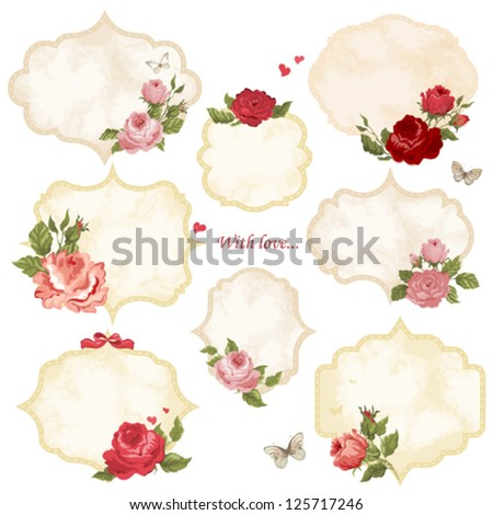 Set of holiday labels with roses and butterfly - stock vector
