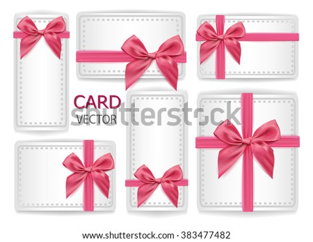 Set Of Holiday Present Gift Package Vector Illustration Sign Happy Happiness Pink Silk