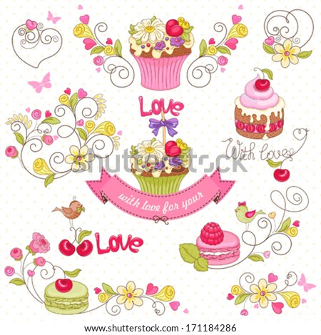 Set of holiday symbols with cupcake, macaroon, berries, flowers, birds and butterflies. - stock vector