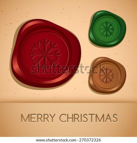 Set of Holiday Wax Seal : Christmas : Vector Illustration  - stock vector