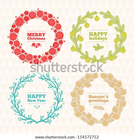 Set of holiday wreathes - stock vector