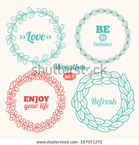 Set of holiday wreathes. Perfect for wedding, birthday and Valentine's Day - stock vector