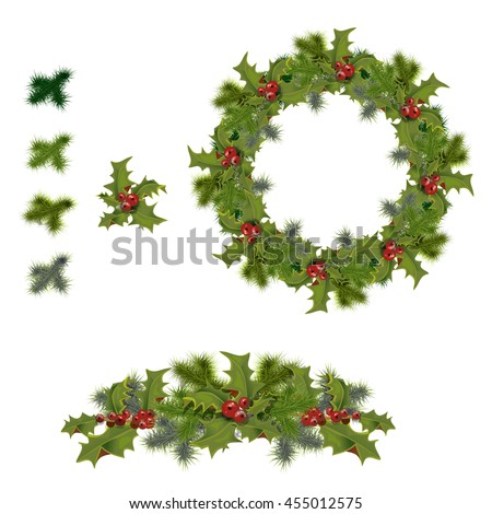 set of holly branches as wreath frames with leaves and berries - Wreath Frames
