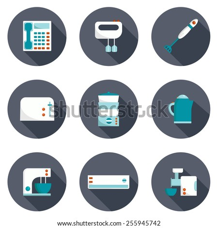 Set of home appliances icons for your design - stock vector
