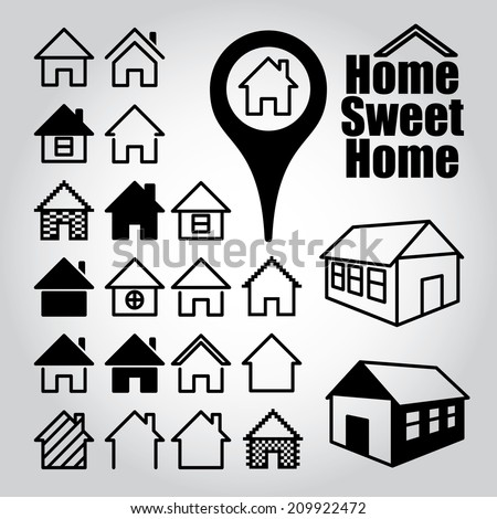 Set of home icons. Home sweet home. - stock vector