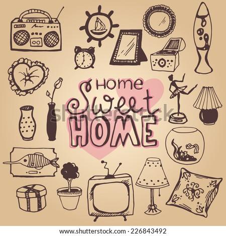 set of home interior doodles - stock vector