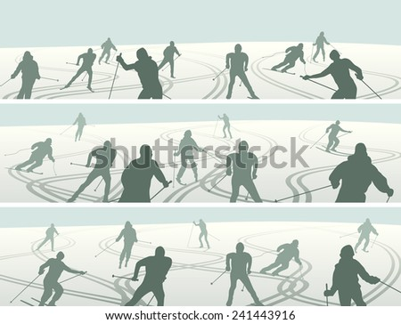 Set of horizontal abstract simple banners skiers with traces of skis.