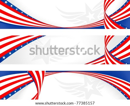 set of horizontal american theme banners - stock vector