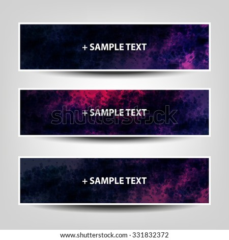 Set of Horizontal Banner / Cover Background Designs / Ad Banner Templates - Colors: Blue, Purple, Pink