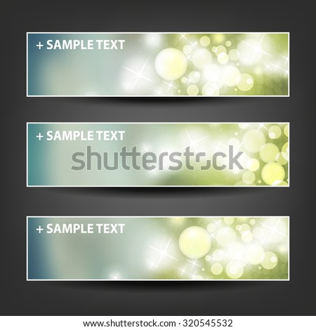 Set of Horizontal Banner / Cover Background Designs - Colors: Grey, Green, White - Party, Christmas, New Year or Other Holiday Ad Banner Templates - stock vector
