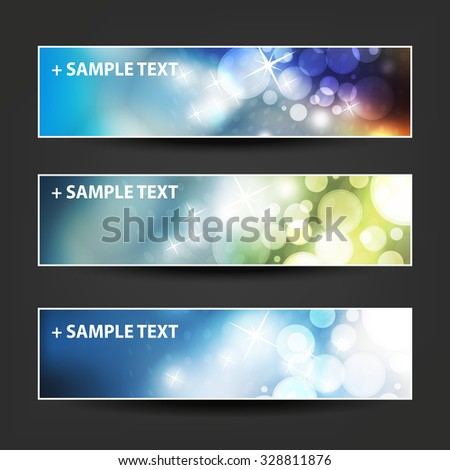 Set of Horizontal Banner or Header Designs for Christmas, New Year or Other Holidays with Colorful Dotted Pattern Background