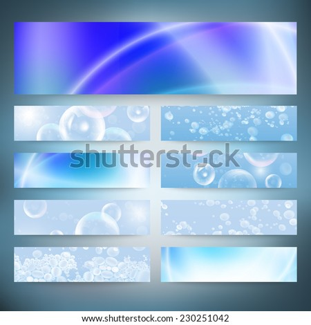 Set of horizontal banners. Drops in the blue water vector background. Modern banners, abstract banner design, business design and website templates vector. - stock vector