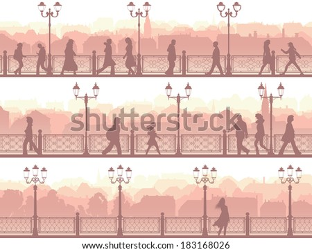 Set of horizontal banners of walking people along downtown street with fence and streetlights. - stock vector
