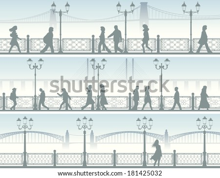 Set of horizontal banners of walking people along embankment with fence and streetlights. - stock vector