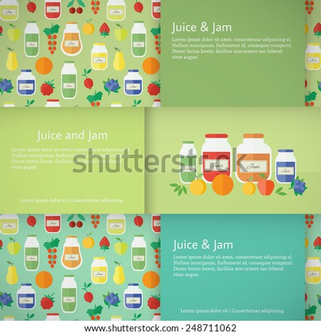 Set of horizontal banners with jars of fruit jam and juice . Flat design vector illustration
