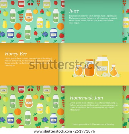 Set of horizontal banners with jars of jam and juice and honey. Flat design vector illustration