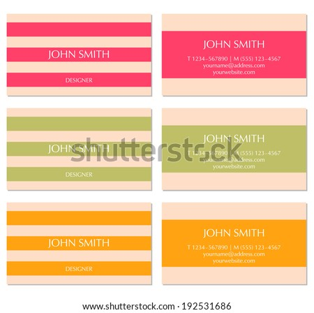 Set of horizontal business cards - stock vector