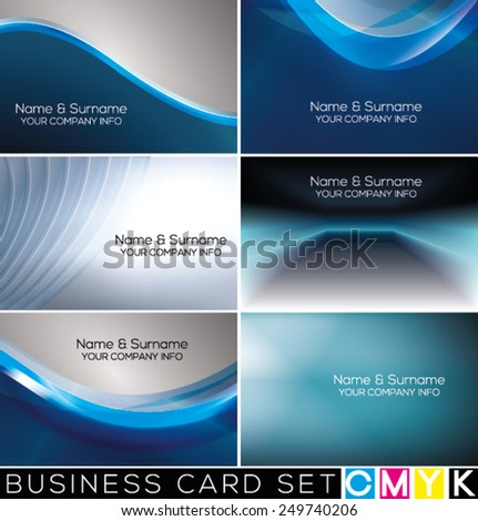 Set of horizontal business cards, abstract backgrounds. (CMYK color mode.) - stock vector