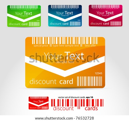 Set of horizontal discount cards - stock vector