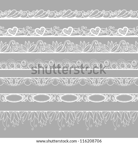 Set of horizontal lace borders - stock vector