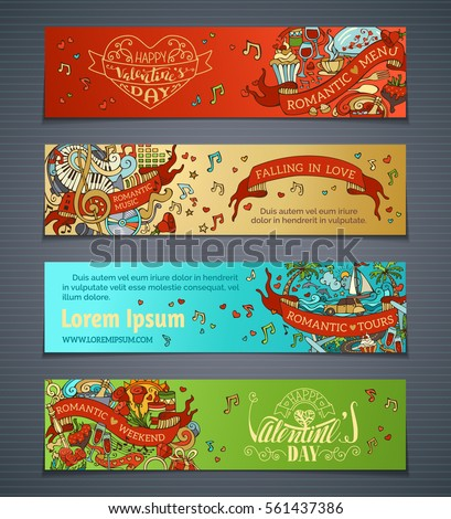 Set of horizontal love banners. Vector cartoon Valentine's day banners. Romantic music, weekend, menu, tours. There is place for your text on coloured background.