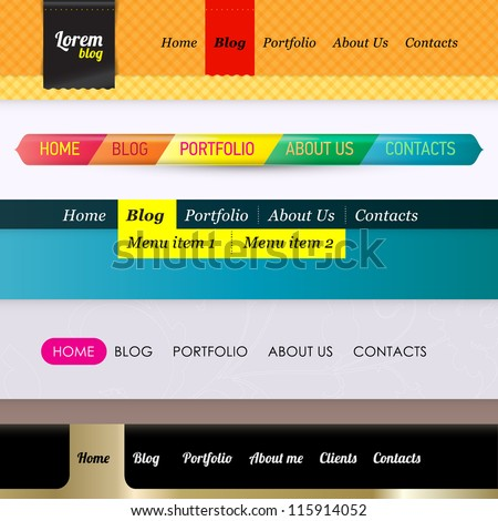 Set of 5 horizontal navigation  menu bars. Web design template elements for business or personal website or fashion blog. Web menu bar. - stock vector