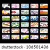 Set of 30 horizontal retro business cards - stock vector