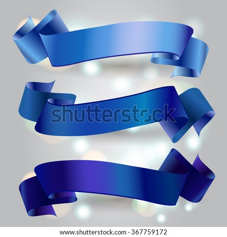 Set of horizontal  ribbon banners - stock vector