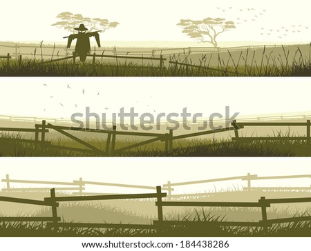 Set of horizontal vector banner farm fields with fence. - stock vector