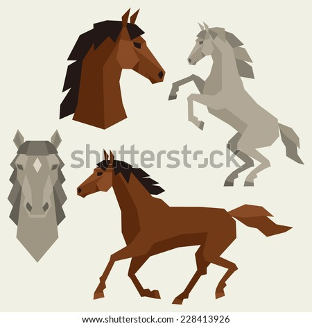 Set of horses different poses in flat style. - stock vector