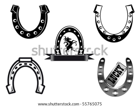 Set of horseshoes elements for design - also as emblem or logo template. Jpeg version also available in gallery - stock vector