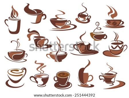 Set of hot coffee icons and symbols with cups and mugs of steaming beverage in various shapes, sketch style - stock vector